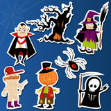 Halloween Stickers. Set of cute Halloween character stickers with Witch, Mummy, Dracula, Grim Reaper and haunted tree Royalty Free Stock Photos