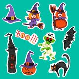 Halloween stickers set with pumpkin,zombie,witch Stock Photography
