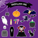 Halloween stickers set. Vector illustration of collection different halloween elements and characters, on a background stock illustration