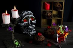 Halloween still-life background. With a lot of different elements. Dark photo Royalty Free Stock Photography
