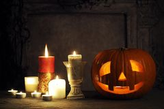 Halloween still life. With pumpkin and candles Royalty Free Stock Images