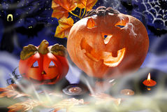 Halloween still life with pumpkins glowing in the night Royalty Free Stock Photography