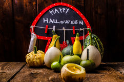 Halloween still life of pumpkins, inscription, shadows Royalty Free Stock Photo