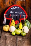 Halloween still life of pumpkins, inscription, shadows Royalty Free Stock Image