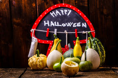 Halloween still life of pumpkins, inscription, shadows Royalty Free Stock Photos