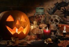 Halloween still life with pumpkins stock photos