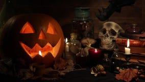 Halloween still life with pumpkins stock footage