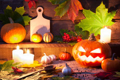 Halloween still life with pumpkins Royalty Free Stock Photography