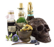 Halloween still life with skull Royalty Free Stock Photography