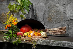 Halloween still life with witch hat and broom. In the garden royalty free stock photo