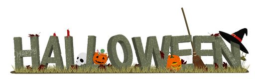 Halloween stone alphabet and the accessories royalty free stock photo