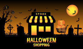 Halloween store shop in a graveyard Royalty Free Stock Photos