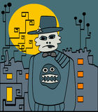 Halloween strange man in the city. Background for text Stock Images