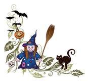 Halloween, strega, va Immagini Stock Libere da Diritti