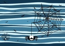Halloween stripey background with smiling spider, cobweb and bats Stock Photography