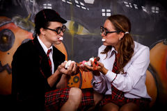 Halloween students sweets Stock Images