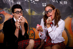 Halloween students sweets Royalty Free Stock Photography