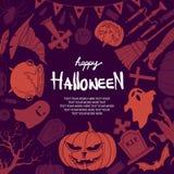 Halloween stuff random on purple background. Royalty Free Stock Images