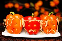 Halloween stuffed pepper monster heads Royalty Free Stock Images