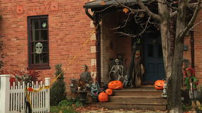 Halloween style decorated house. Many Halloween traditions originated from the ancient Celtic harvest festival Samhain, and that this Gaelic observance was stock video