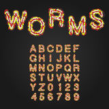 Halloween Style Typeface. Uppercase Letters And Numbers. Latin A Royalty Free Stock Image