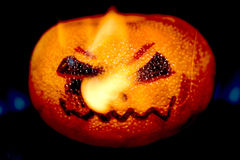 Halloween Styled Pumpkin Orange on fire Royalty Free Stock Photos