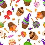 Halloween-suikergoed naadloos patroon Textuur met snoepjes, suikergoedgraan en pompoenen op zwarte achtergrond Vector illustratie Stock Afbeelding