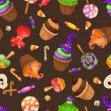 Halloween-suikergoed naadloos patroon Textuur met snoepjes, suikergoedgraan en pompoenen op zwarte achtergrond Vector illustratie Stock Foto