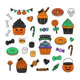 Halloween-suikergoedhand getrokken vectorreeks royalty-vrije illustratie