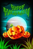 Halloween sulla foresta con le zucche spaventose sull'illustrazione dell'erba Vettore illustrazione di stock