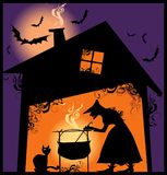 Halloween supper. Witch cooking meal in her cauldron Vector Illustration