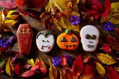 Halloween sweet biscuits pumpkin skull tomb vamp Stock Photos