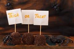 Halloween Sweets brazilian brigadeiro, chocolate candy, spider Stock Photos
