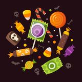 Halloween sweets and candies Stock Images