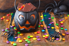 Halloween Sweets chocolate candy, spide Stock Photo
