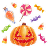 Halloween sweets and pumpkin. Royalty Free Stock Photography