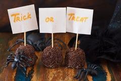Halloween Sweets treak or treat  brigadeiro, spider, witch hat Stock Images