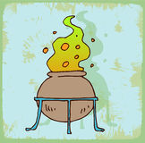 Halloween symbol cauldron illustration, vector icon. Royalty Free Stock Photography