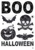 Halloween symbol som ställs in med spidernet, vektor Royaltyfri Foto