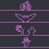 Halloween-Symbole im Neonlicht, dunkler Hintergrund Stockfotografie