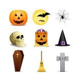 Halloween symboler stock illustrationer