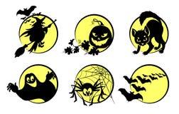 Halloween symbols. Illustration of six Halloween symbols Royalty Free Stock Image