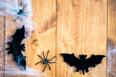 Halloween Symbols Bats, Web and Black Spiders on Wooden Backgrou Royalty Free Stock Photos