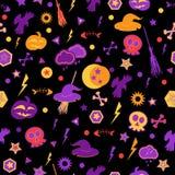 Halloween symbols on black background. Stock Photography