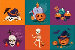 Halloween symbols set. Funny skeleton. Traditional holiday sweets, pumpkin in witch hat, skull, burning candles. Flat stock illustration