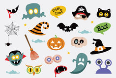 Halloween symbols and icons collection Royalty Free Stock Photos