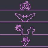 Halloween symbols in neon light, dark background. Vector illustration Stock Photography