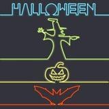 Halloween symbols in neon light, dark background. Vector illustration Royalty Free Stock Photos