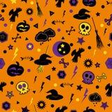 Halloween symbols on orange background. Stock Photography