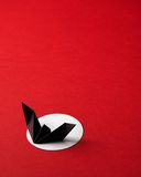 Halloween symbols origami on red background Stock Images